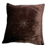 "DIAMANTÉ VELVET DESIGNER CUSHION COVER CHOCOLATE BROWN COLOUR LARGE SIZE 22"" x 22"""